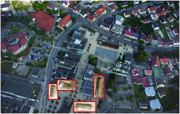 Innenstadt Spaichingen heute + Overlay Lagergebäude