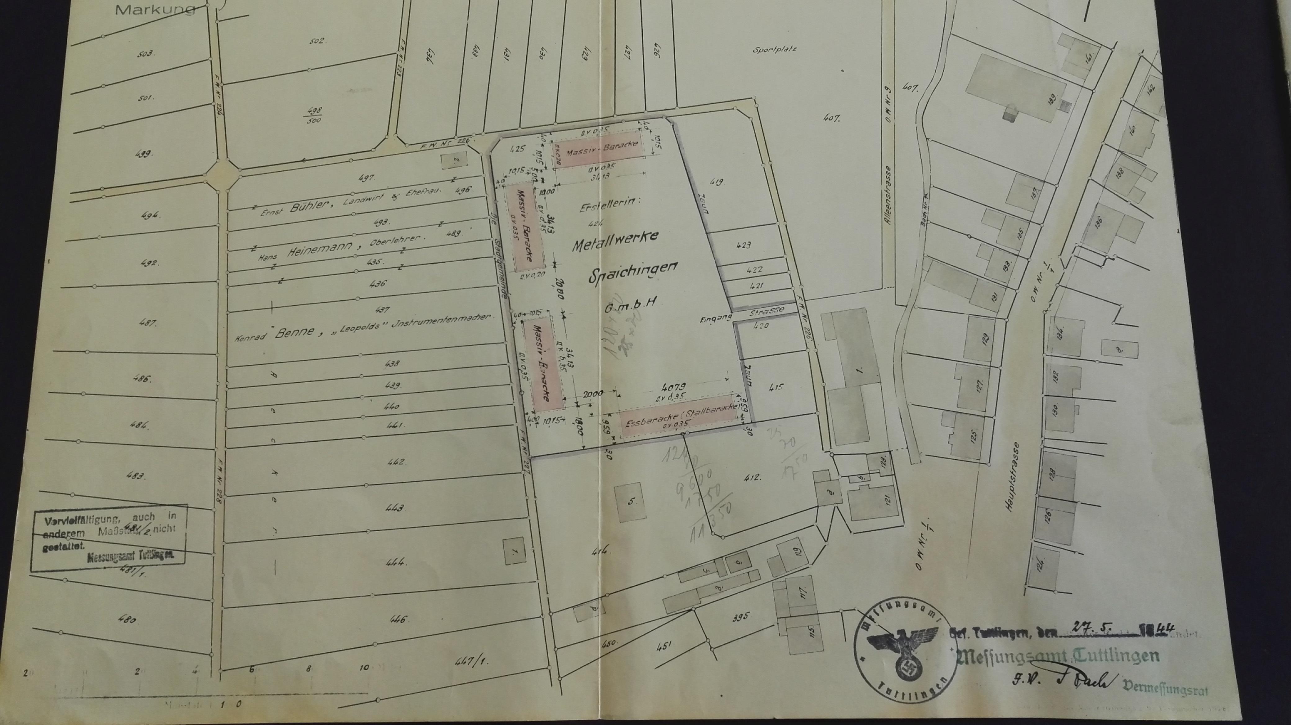 Lageplan des KZ-Außenlagers Spaichingen